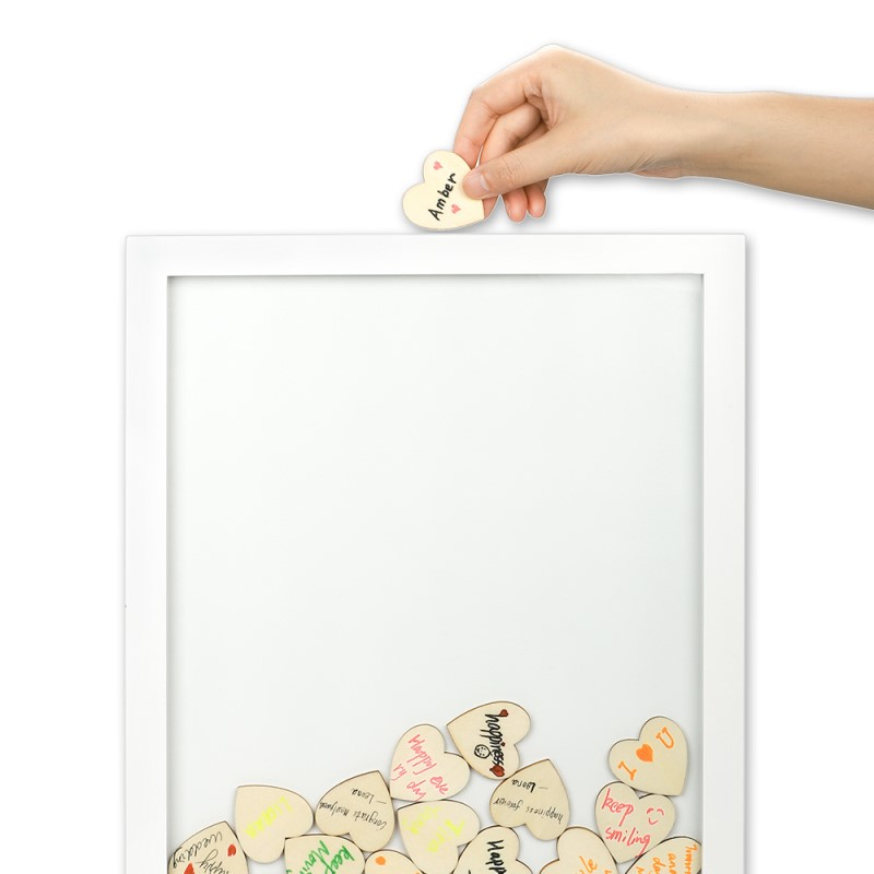 Wooden Guest Frame with heart blocks for Signature-30*42*2cm