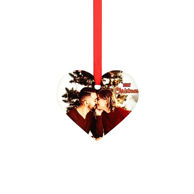 "Double-side Printable Aluminum Ornaments-Heart Shape-3""x2.593""(76.2x65.86mm)"