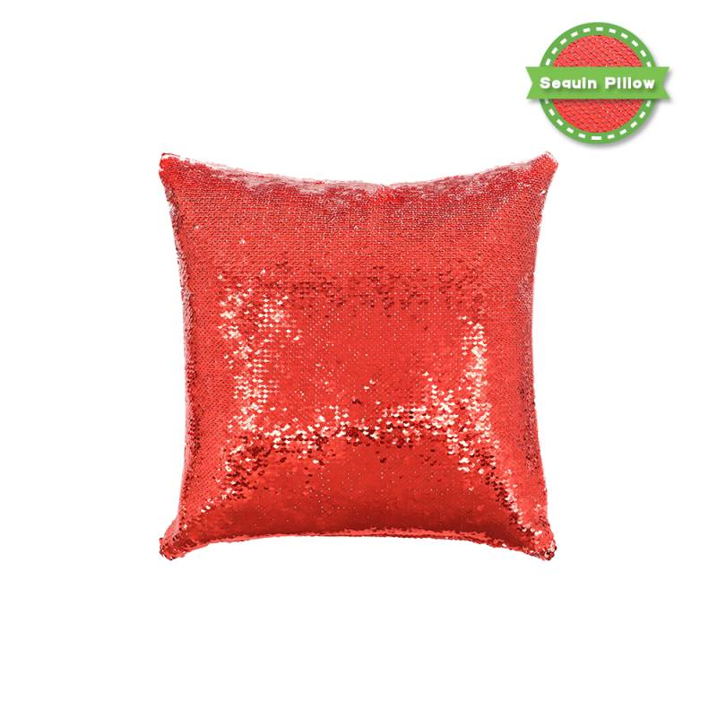 Sequin Pillow Case Square Shape Red