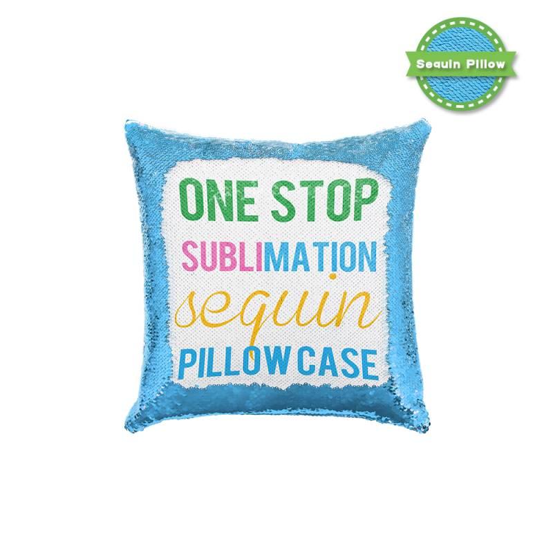 Sequin Pillow Case-Square Shape-Blue