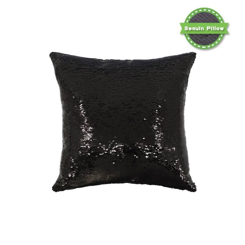 Sequin Pillow Case-Square Shape-Black