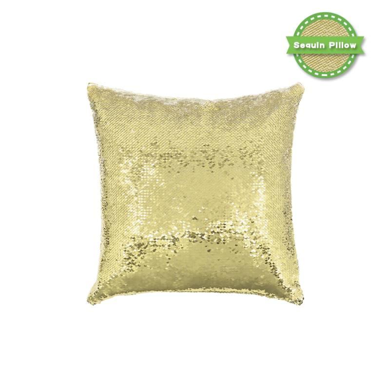 Sequin Pillow Case-Square Shape-Gold