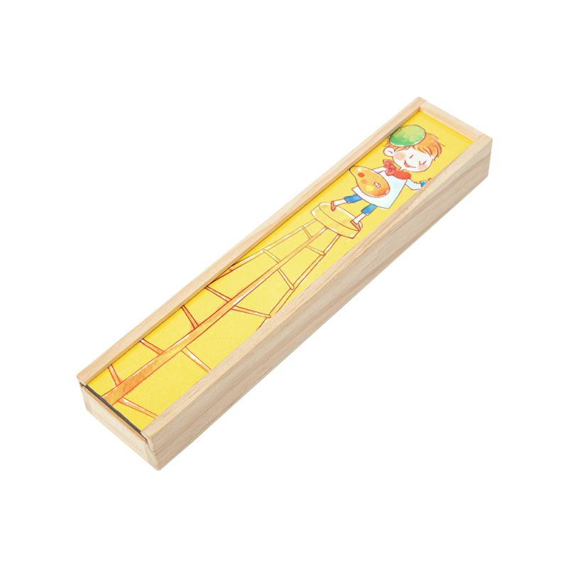 Wooden Pencil Box with MDF Insert-with 8pcs Colorful Pencil